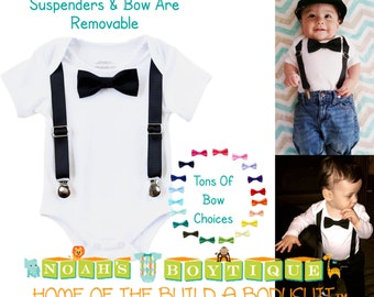 Baby Tuxedo - Tux - Black Suspenders - Black Bow Tie - Infant - Dressy Baby - Boy Wedding - Baby Boy Clothes - Newborn Tuxedo - Black Tie