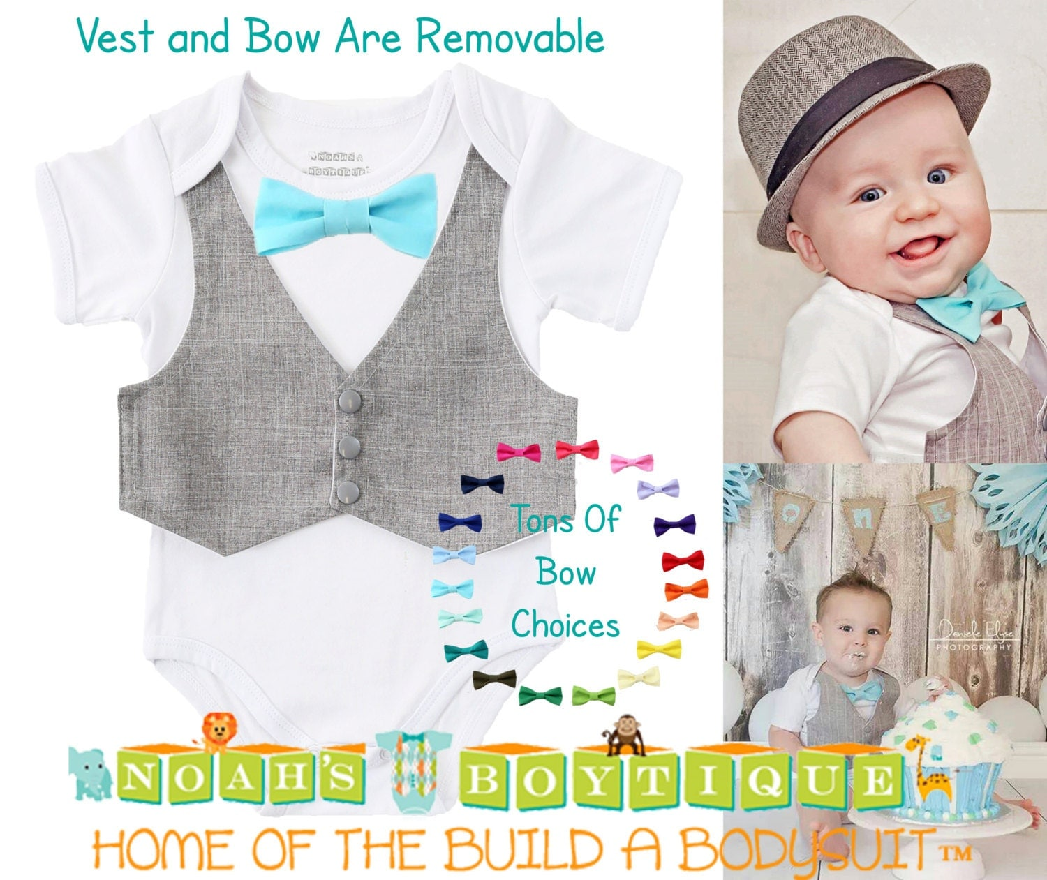 Baby Boy Clothes Grey Suit Vest And Bow Tie Outfit