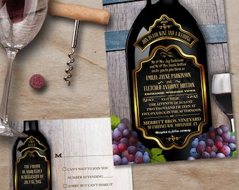 Rustic Vineyard Winery Wedding Stationery Set, Invitation and Reply Cards, Printable, Evite or Printed (US Only) Invitations