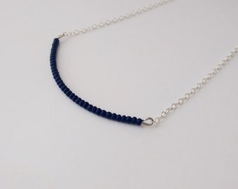Sterling silver deep navy blue necklace,beaded necklace,minimalist,blue necklace,delicate,dainty,bridesmaid gift,bar necklace,chain necklace