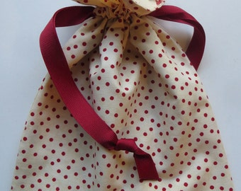 Red Polka Dot Lined Fabric Drawstring Gift Bag