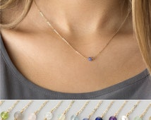 Simple Birthstone Collar Necklace, Dainty Gemstone Choker or Peridot Layering Necklace / 14k Gold Filled, Rose Gold or Sterling Silver LN630