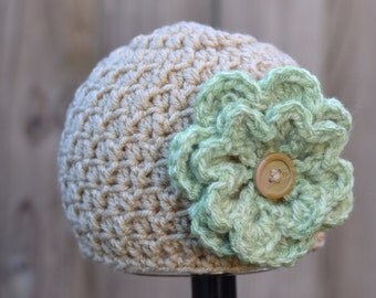 Crocheted Textured Beanie Girl Infant Tan with Green Flower Ready to Ship