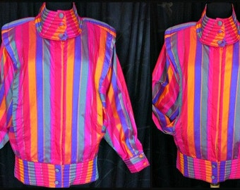 C S Thai Silk Jacket / fits M / Handwoven Thai Silk Jacket / Vintage Thai Silk Jacket / Neon Thai Silk Jacket