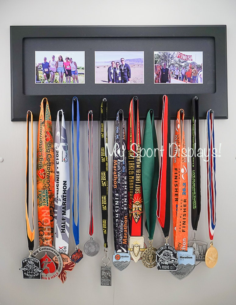 Black Sport Medal Display With Photo Frame Black Mat