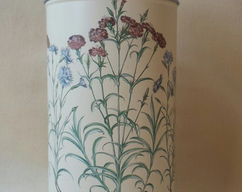 Vintage VinCenzo ~ Decorative Tin ~ Round ~ 1992 ~ Japan ~ Flowers ~ Metal Can ~ Home Decor  ~ Shabby Office Organization