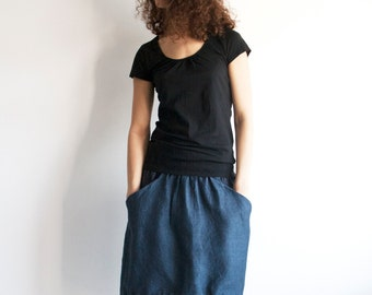 Skirt in navy blue linen with drawstring, navy blue linen skirt, asymmetrical skirt, linen midi skirt, skirt with pockets
