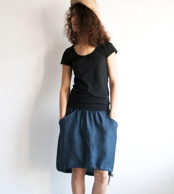 skirt in navy blue linen with drawstring navy blue linen