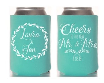 wedding can cooler rustic wedding favor beer can cooler personalized can cooler custom can hugger wedding favor insulator summer
