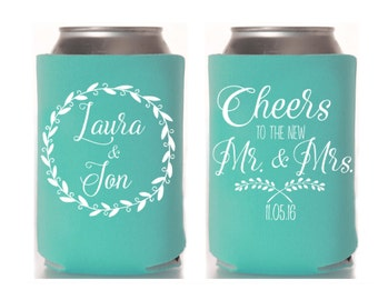 Wedding Can Cooler, Rustic Wedding Favor, Beer Can Cooler, Personalized Can Cooler, Custom Can Hugger, Wedding Favor, Insulator, Summer