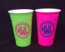 Personalized solo cup, monogram Cup, pink monogram cup, holiday Party, solocup, bachelorette party,