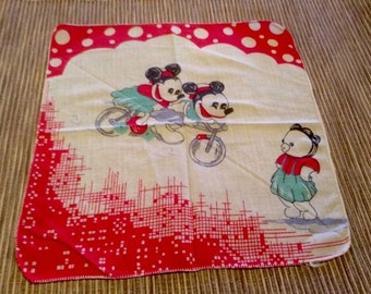 Vintage Cotton Handkerchief Hanky Old Style Mickey And Minnie On Bike