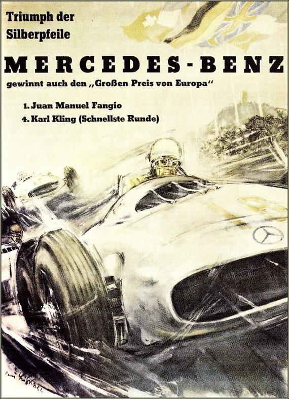 Mercedes benz 1955 the big prize vintage by for Vintage mercedes benz posters