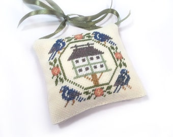 Completed cross stitch, finished cross stitch spring ornament, primitive birdhouse, easter decor, bird cross stitch, primitive cross