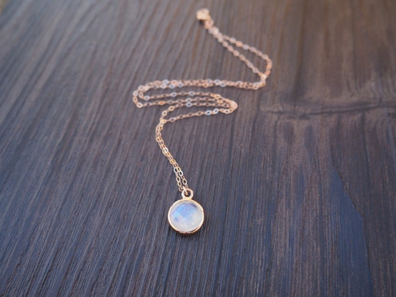 Rose Gold Moonstone Necklace Rainbow Moonstone Necklace In