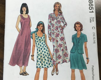 Vintage 1990s Unlined Jacket & Dress in Two Lengths Pattern // McCall's 8651, Sizes 10, 12, 14 unused, Petite-able
