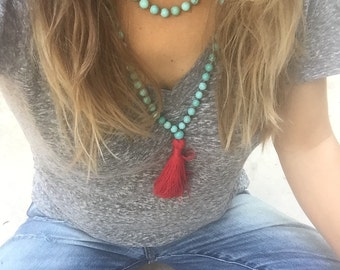malas, 108 mala beads, yoga jewelry, tassel necklace, Bohemian jewelry, mala beads, yoga necklace, prayer beads, red, blue green turquoise