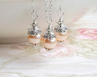 Peach Pearl Bridesmaid Jewelry Set Peach Swarovski Pearl Bridesmaid Gift Jewelry Gift Peach Crystal Pearl Set Of necklace, dangle earrings