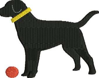 a dog, lab silhouette with ear and collar embroidery design