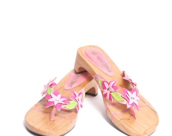 Vintage 90's Wood Sandals with Pink Flower Design