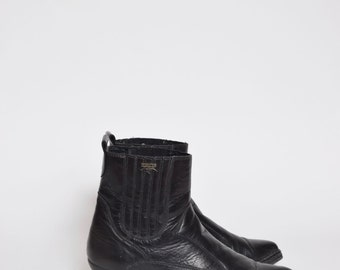 Vintage 90's Black Real Leather Ankle Boots