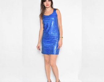 Vintage 90's Blue Shiny Mini Dress / Sparkling Sleeveless Dress - Size Large