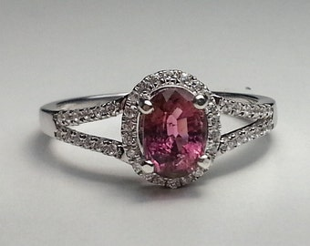 Natural Pink Tourmaline Oval Sterling Silver Ring 1.01 ct.