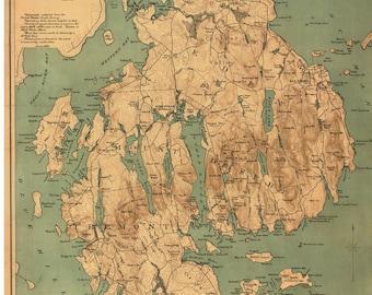 Mount Desert Island 1893 Map - Rand - Reprint