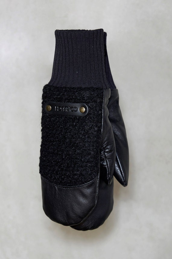 CHALI - leather and wool warm mittens for womens - black