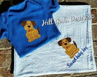 Baby boy puppy applique onesie and lovie set