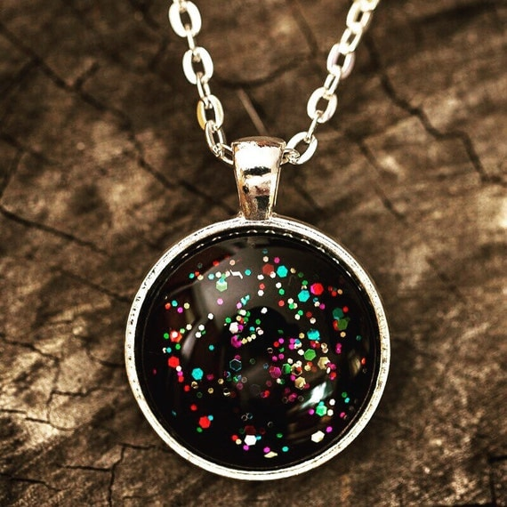 FREE SHIPPING - Rainbow Universe - Necklace Kitschy Koo Handmade Necklace - Sparkle Glitter Rainbow Necklace - Black Rainbow Glitter