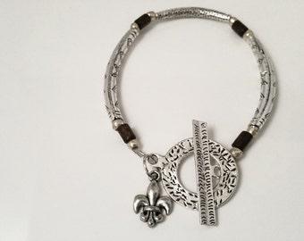 Vintage Silver Tube Bracelet