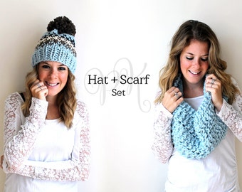 Knitted Scarf Hat Gloves Set Winter Fashion