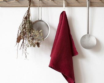 Burgundy Stone Washed Linen Tea Towel