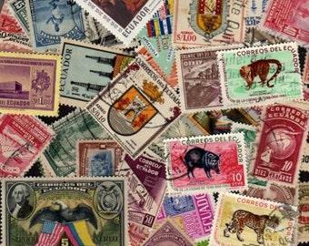 100 Diff OLD Ecuador Stamps, Ecuador Stamp Collection, Ecuador, Lot Stamps,Postage Stamps, Stamp Collection,South America Stamps, Crafts,