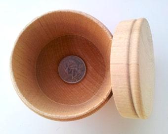 1 Large Round Wooden Box / Unfinished DIY / Treasure Box