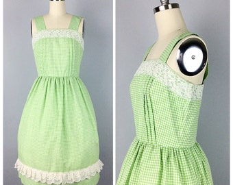 70s Green and White Gingham Dress - 1970s Vintage Cotton and Lace Day Dress - Small - Size 4