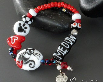 Handmade lampwork glass beads artisan bracelet  - Cat Lover - Kitty - made by Silke