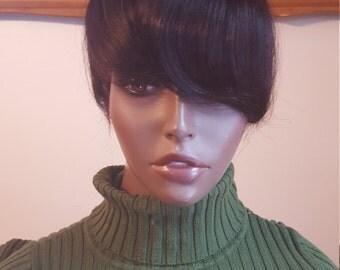 Hair topper, Fringe BANGS Silk Base #2 Dark Brown