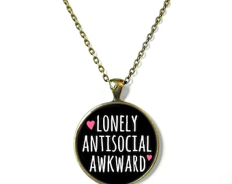 Lonely Antisocial Awkward Necklace, Feminist Soft Grunge Nu Pastel Goth C*nt Jewelry Rude Mean Insult Girl Power Jewelry
