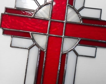 Stained Glass Cross Suncatcher, Red and White, #118