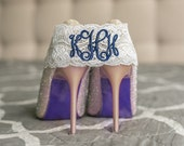 Monogrammed Garter | Navy Blue Garter | Personalized Blue Garter  | Wedding Belt Garter | Plus Size Garters