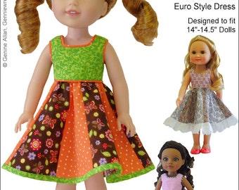 Pixie Faire Genniewren Designs Dora Dress Doll Clothes Pattern for 14.5 Inch Dolls Such As WellieWishers- PDF