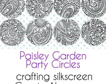 Paisley Garden Party Silkscreen 2 inch Circles