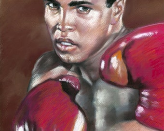 "Muhammad Ali painting, poster, print, Hard Rock singer 16""x20"",22.4""x28"",30""x40"""