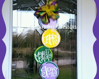 MARDI GRAS Beads Wooden Door Hanger, Let the Good Times Roll, Fat Tuesday, Float Decorations, Door Signs, Door Decoration