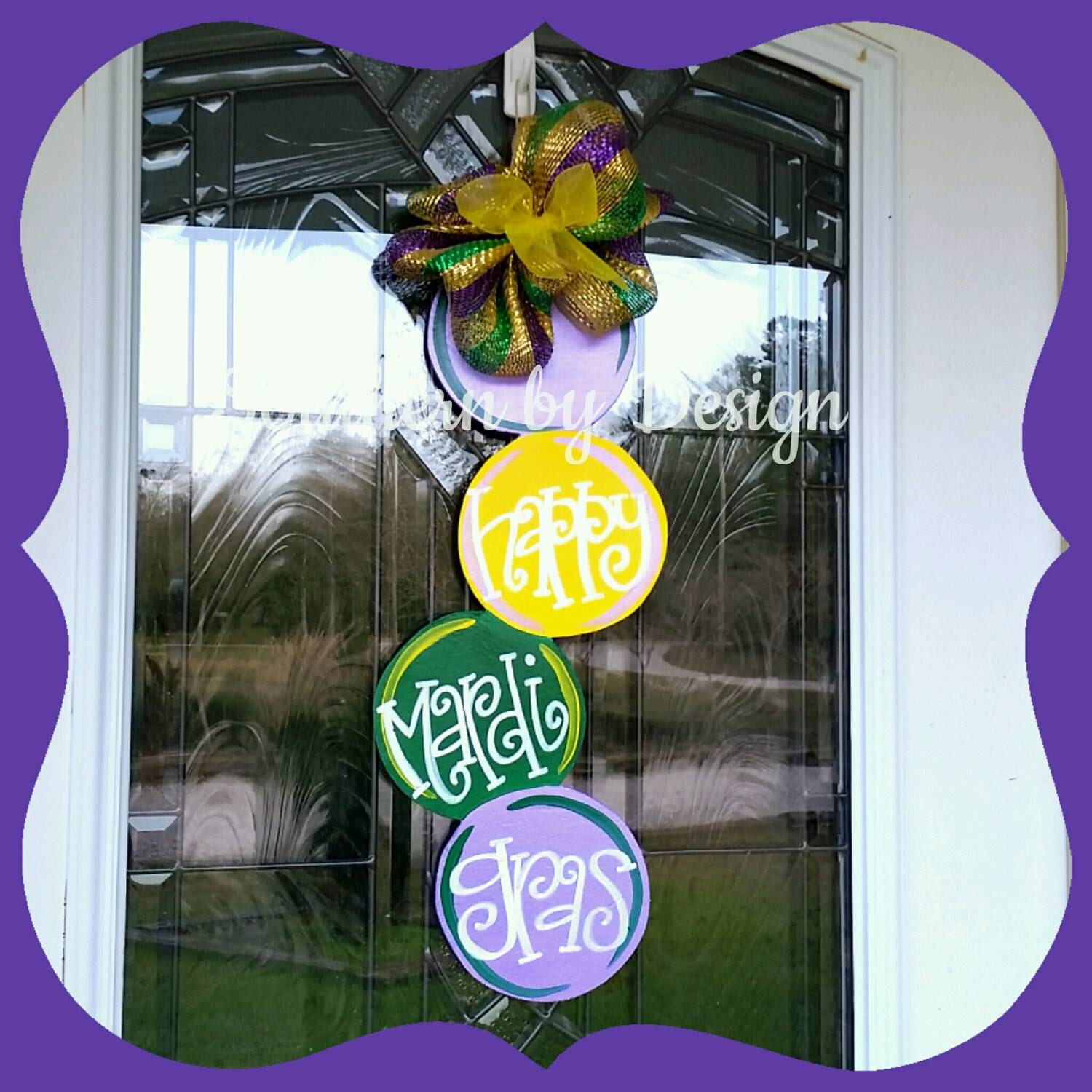 MARDI GRAS Beads Wooden Door Hanger Let the Good Times Roll