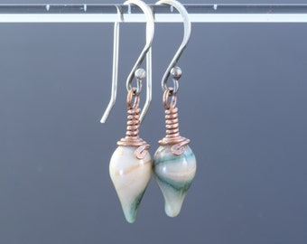 E224 - Drop Earrings - Sterling silver and copper, Soft glass - marbled ivory & moss