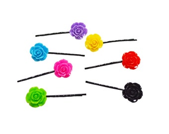 Set of 7 Assorted Colorful Rose Resin Bobby Pin - Hair Pins - Hair Accessories - Colorful Hair Clips - Girl Hair Pin - Bobby Pins Set