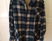 Free ship Wool 49er jacket in blue plaid mens vintage 1960s